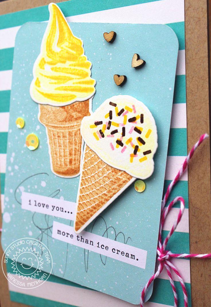 Sunny Studio Stamps: Two Scoops Ice Cream Happy Birthday Card by Vanessa Menhorn