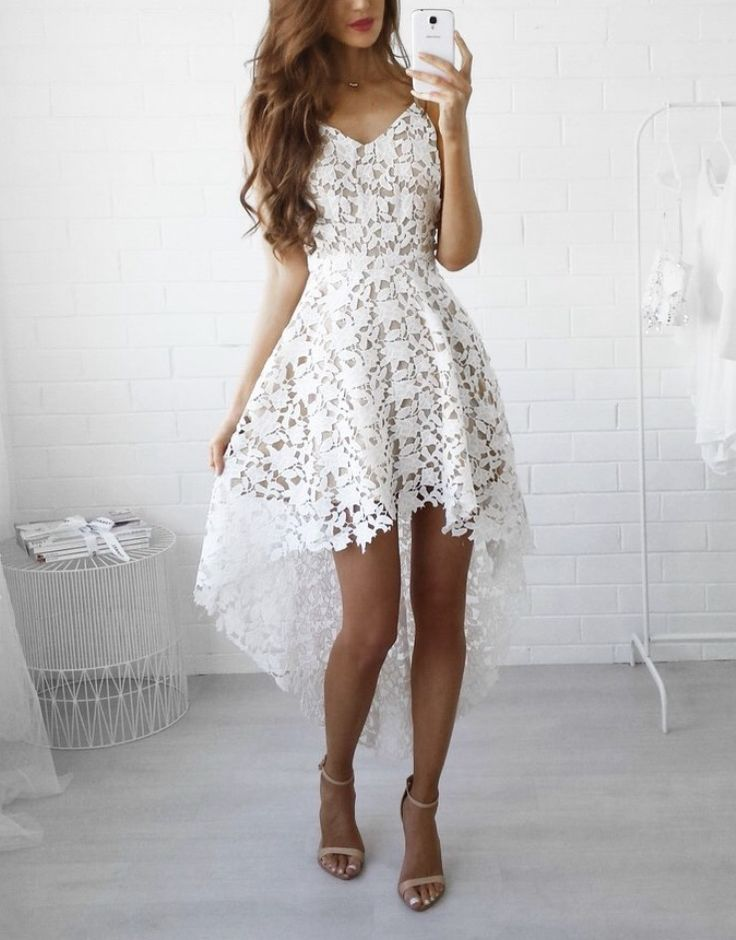 Electra High-Lo Lace Dress in White