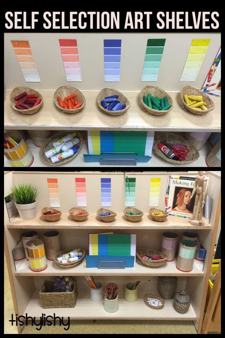 Our new art shelves.