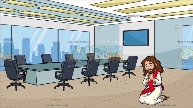 Jesus Praying Solemnly At A Modern Board Room:  Cartoon image of Jesus Christ with long brown hair beard and mustache wearing a white robe and brown sandals as well as a red sash kneels down to pray both eyes closed in concentration hands together in a praying position. Set in a modern board and conference room with a light teal rectangular table gray swivel chairs a flat screen monitor attached to a wall glass windows and panel ceiling lights.  #religion #religious #church #prayer…