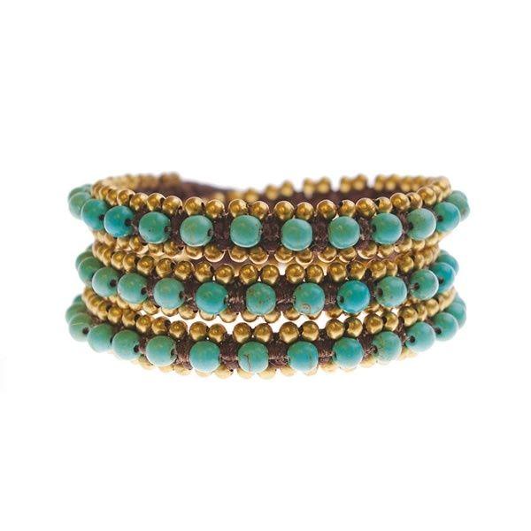 A Beautiful Story sieraden | Studio Art Styles  | Armband | handmade in Nepal | Dauphina wrap turquoise