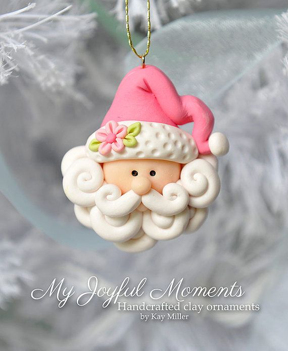 One of a kind, handcrafted Santa ornament made of durable polymer clay by Etsy seller My Joyful Moments.