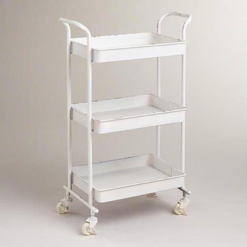 White Austin 3-Tier Metal Cart at Cost Plus World Market >> #WorldMarket Laundry Organization Tips