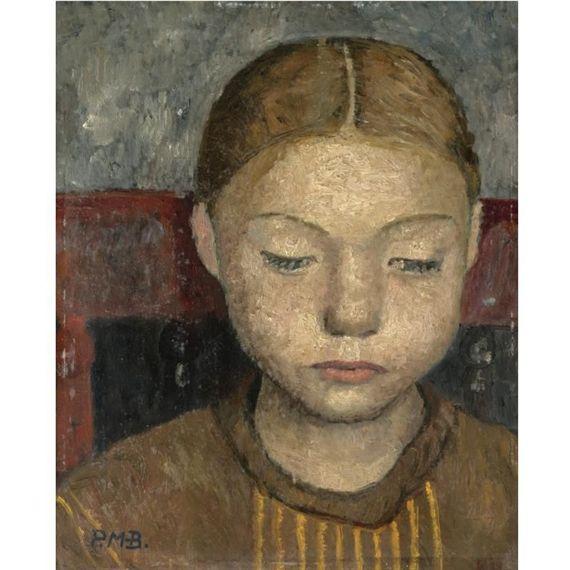 Head of a girl sitting on a chair, Paula Modersohn-Becker. German Female Painter (1876 - 1907)
