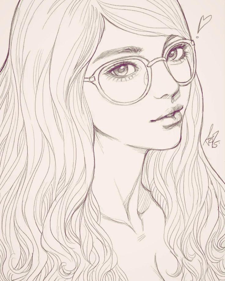 Картинки для срисовки девочка с очками