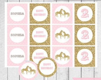 Pink Vintage Pony Horse Birthday Party Printable Napkin
