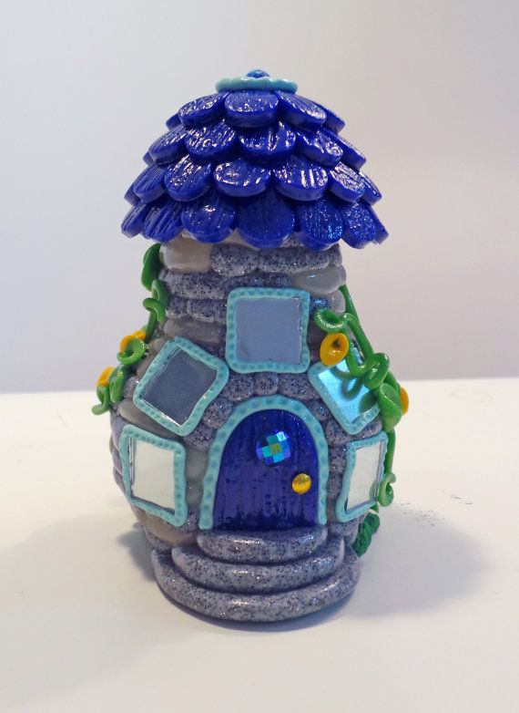Fairy House: Blue Bottle Home with Wishing Well | MiniWhimsies
