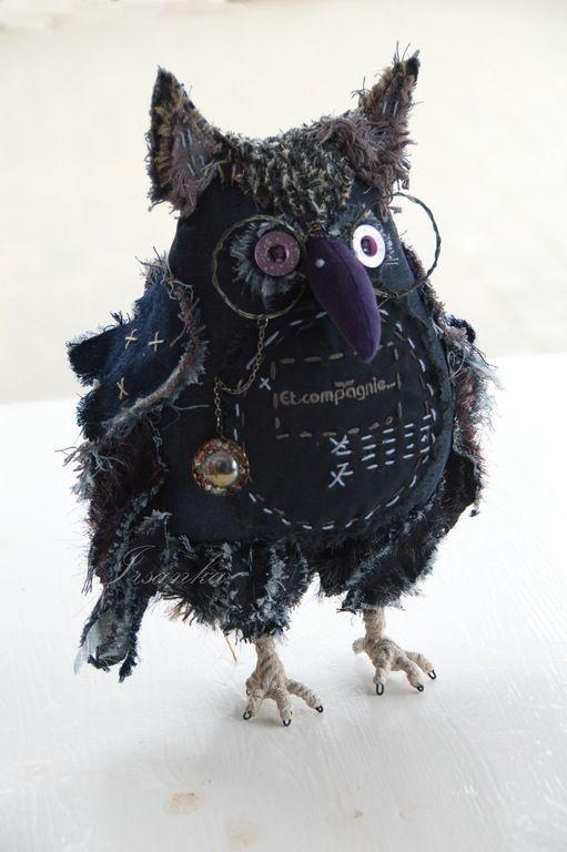 """Купить Сова """"Генрих"""" - темно-синий, птица, сова, мудрая сова, оберег, оберег для дома"""