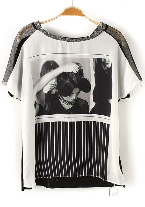Black Patchwork Print Round Neck Cotton Blend T-Shirt
