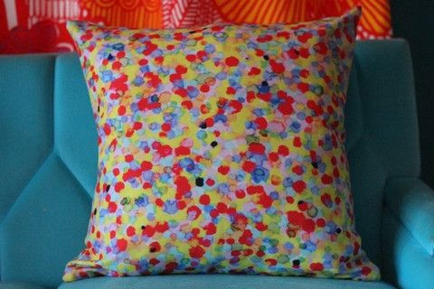 Coloured Dots in Yellow/Red/Blue Cushion Cover by Mark Catley - 50cm x – Blue Scarlet