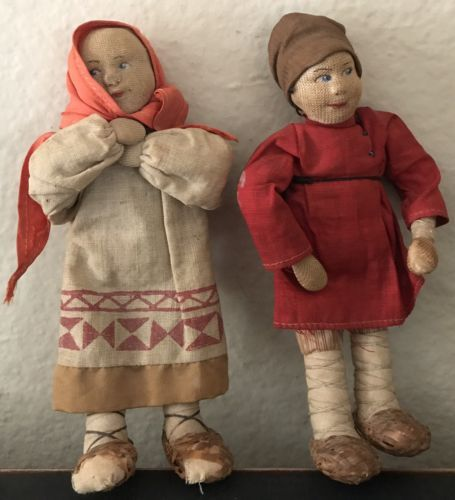 2-Antique-Stockinette-Cloth-Dolls-Peasant-Girl-amp-Boy-Russian-Soviet-Union-USSR