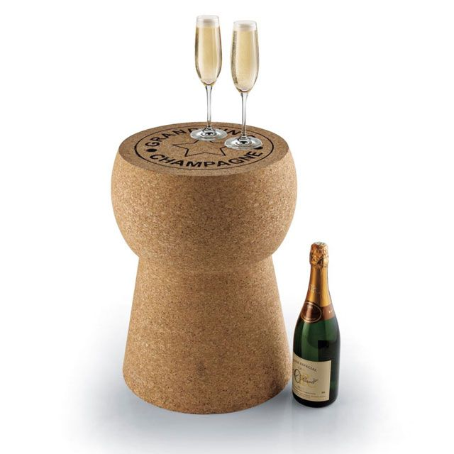 "Giant Champagne Cork Table/Stool made of Portuguese cork ""Grand Vin de Champagne"""