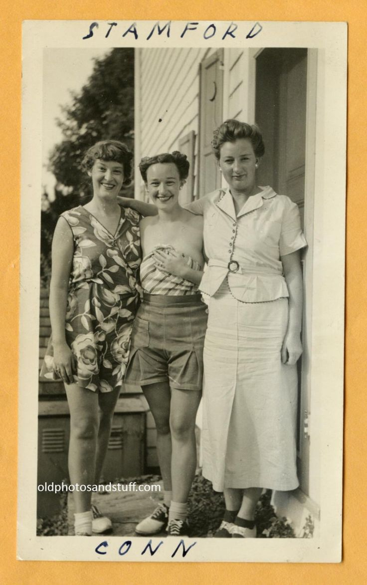 05a991d55 Original Vintage Snapshot Of 1940s Beautiful Women One Holding her Shirt  due to a Wardrobe Malfunction. 40s Fashion  1940s  40sfashion  vintagephoto