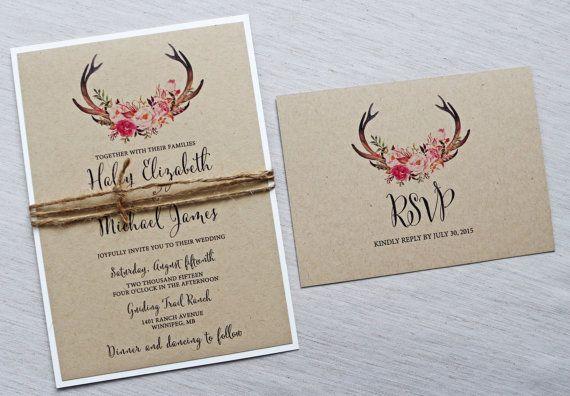 Modern Rustic Boho Deer Antler Wedding Invitation, The perfect mix of rustic, boho, modern and elegance! The wedding invitation is printed on