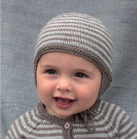 Strik en stribet babyhue Strikkeopskrift baby , BarneGuiden.DK