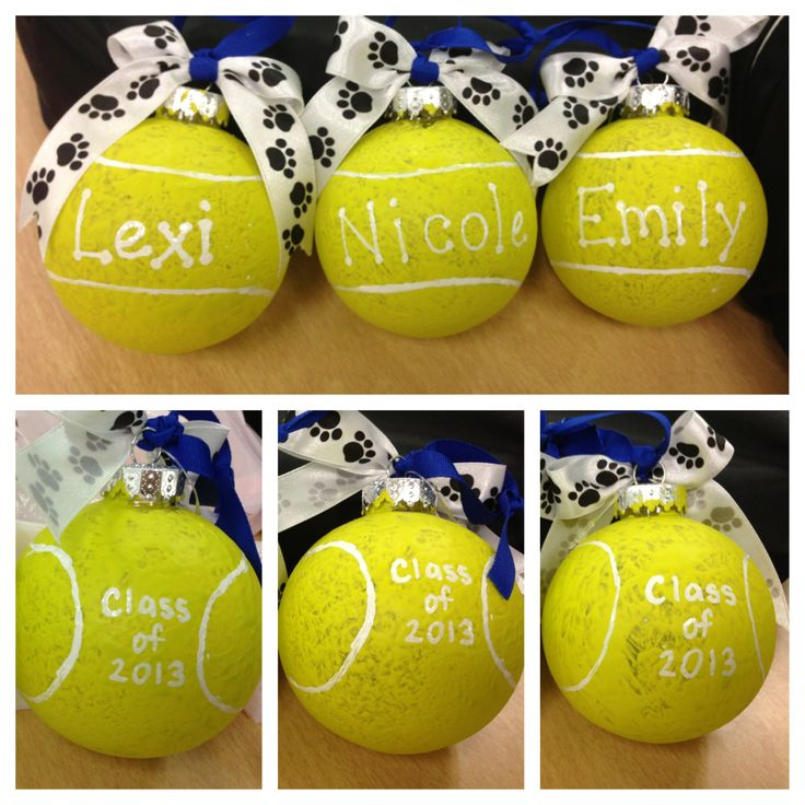 Plastic ornaments painted with a sponge to get the texture effect of a tennis ball. Great gift for team captains.