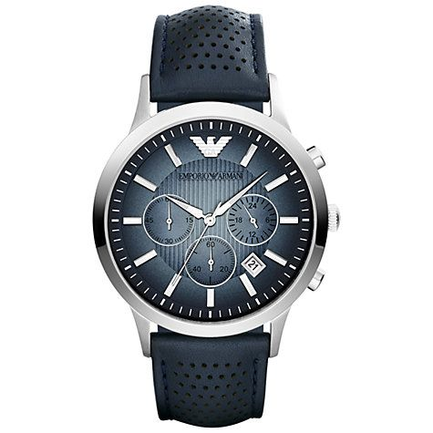Buy Emporio Armani AR2473 Men's Renato Blue Degrade Dial Leather Strap Watch, Blue Online at johnlewis.com