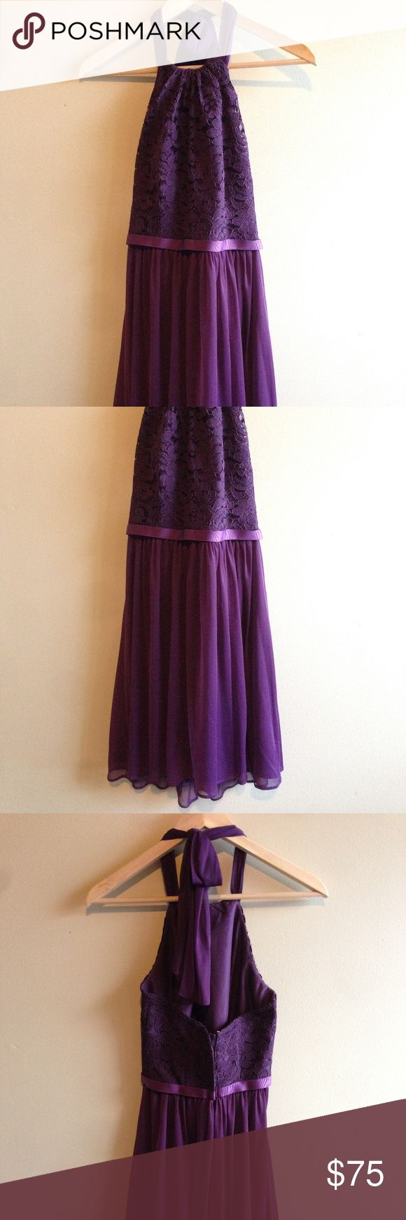 """David's Bridal Short Lace Halter Dress Plum Sz 0 Beautiful plum short lace halter dress from David's Bridal. The size tag has been removed, but I'm pretty sure this is a size 0, model F17020 (http://www.davidsbridal.com/Product_short-halter-lace-and-mesh-dress-f17020). The only difference is that the skirt lining the mesh part of the dress has been altered so that it is approximately 1"""" shorter than the bottom. The dress from top of lace measures 31 1/2"""" long, 14"""" across the chest.  From a…"""