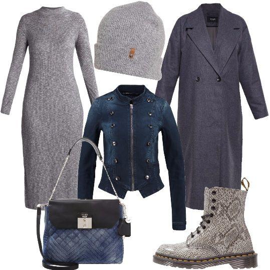 Il grigio, un colore che vedremo molto in questo autunno 2016 è il protagonista di questo abbinamento. L'abito in maglia, lungo al polpaccio, si abbina bene con il giubbino in jeans, dal taglio particolare e con il cappotto lungo, grigio scuro. Abbiniamo un paio di stivaletti grigi, a fantasia, un berretto e una borsa a tracolla che richiama il denim del giubbino.