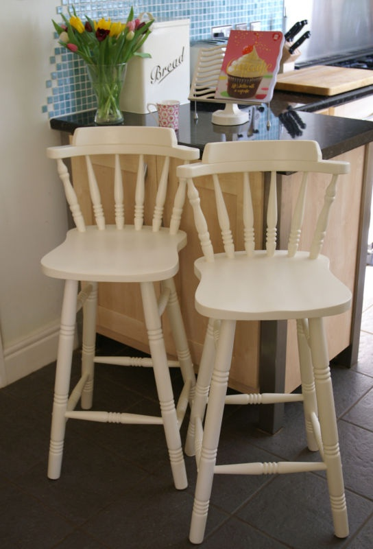 Pair of country style breakfast bar stools painted Laura Ashley Creamware | eBay