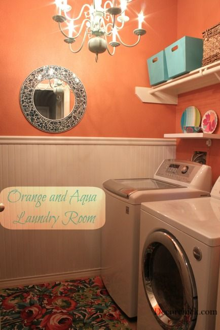 Pretty Orange and Aqua Laundry Room Makeover