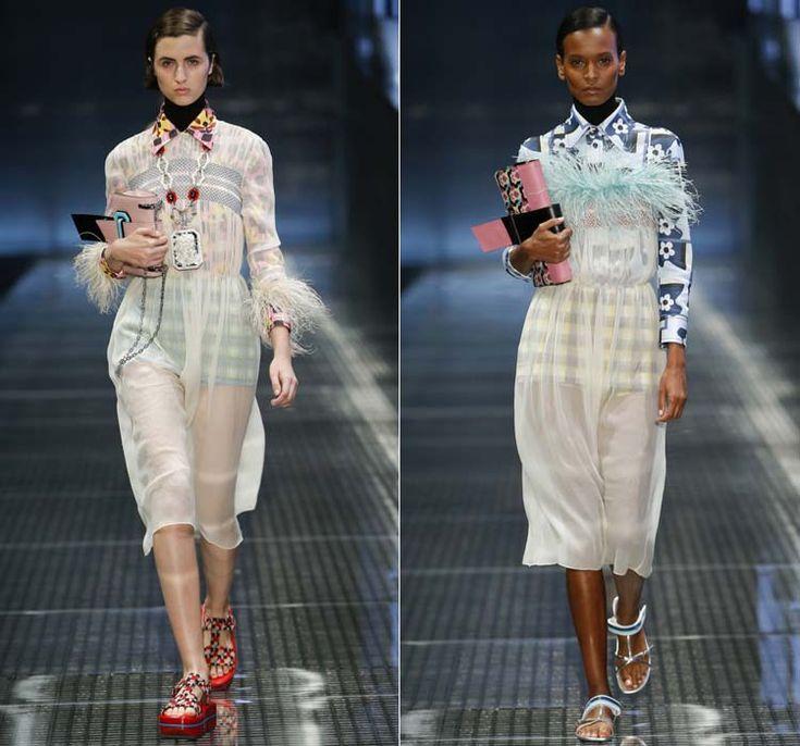 Полупрозрачные платья с перьями от Prada Весна-Лето 2017 Ready to wear