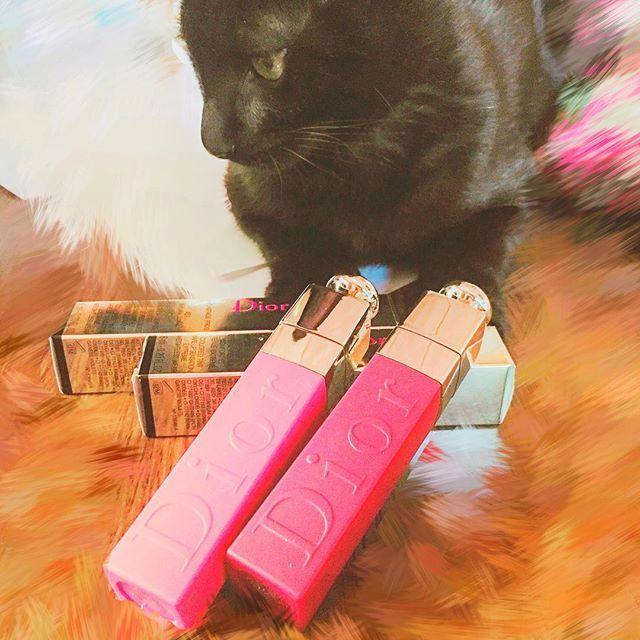 やっと届いた〜🤤 #ディオール の #リップティント 💄 #771  の #ナチュラルベリー と、#451  の #ナチュラルコーラル ! ムーは写りたがり、甘えたがり🐱笑  #dior #liptatoo #tint #lipstick #コスメ #口紅 #リップ #化粧品 #黒猫 #愛猫 #猫 #かわいい