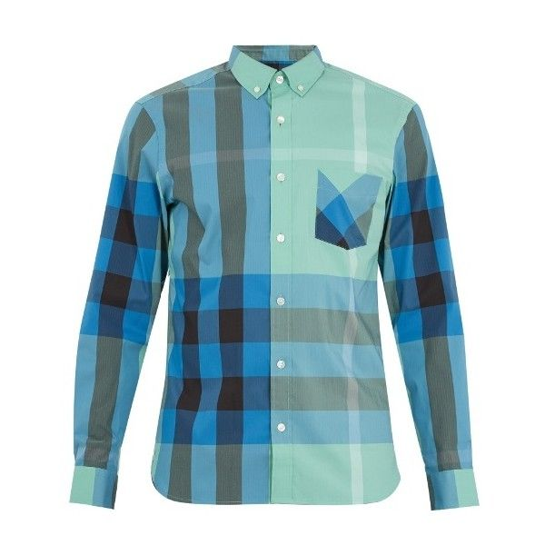 Burberry Thornaby House-check cotton-blend shirt (660 BRL) ❤ liked on Polyvore featuring men's fashion, men's clothing, men's shirts, men's casual shirts, multi, linen cotton blend men's shirts, mens curved hem t shirt, mens blue shirt and mens blue checked shirt