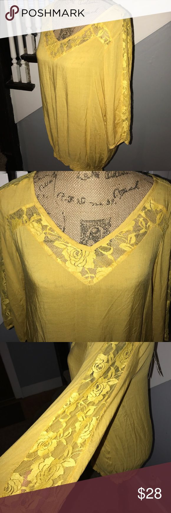 "NWT 3/4 sleeve Lace detail Peasant Top Yellow NWT boutique top in a mustardy yellow. Lace detail, elastic waist v-neck. The perfect lightweight top for your wardrobe! 36"" chest laid flat  approx 18"" armpit to bottom. I have tons of fun items to list so please check out my other items and save 💰on bundles! I do 20% bundle discounts! I ❤️ Offers and typically ship same day! urban mango Tops"