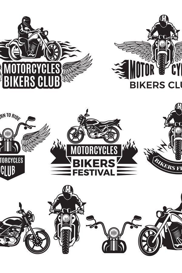 Emblems Or Logo Designs For Club Of Bikers Illustrations Of 813420 Illustrations Design Bundles In 2020 Motorbike Logo Design Logo Design Illustration Design
