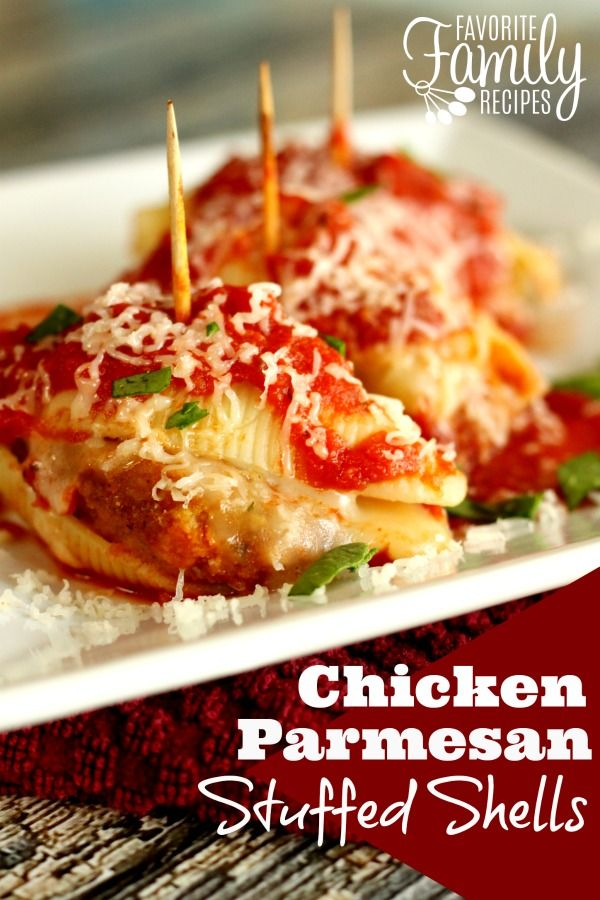 Great as an appetizer or an an easy meal that the kiddos will LOVE! Chicken Parmesan Stuffed Shells