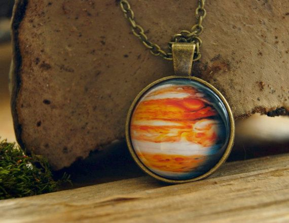 Planet Jupiter pendant Space necklace antique by InviolaJewerly