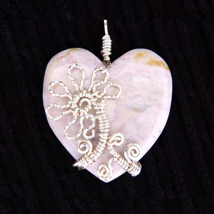Custom made, one of a kind, wire wrapped rhodonite,heart shaped pendant. Hand crafted by Kathy Stewart - Glam N Glitter Eclectic Jewelry.