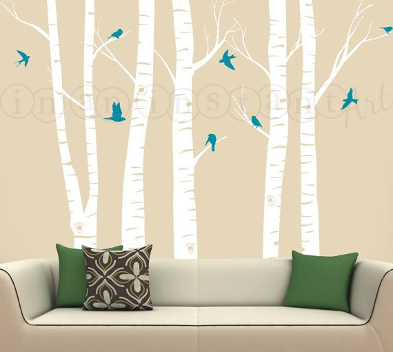 Change birds to yellow. Birch Tree Decal with Flying Birds Birch trees by InAnInstantArt, $72.00