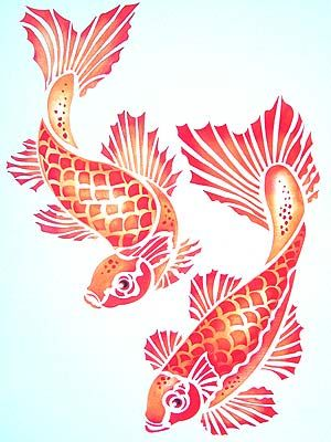 Above - The Koi Carp motifs stencilled in Pineapple, Seville Orange and Very ...    hennydonovanmotif.co.uk