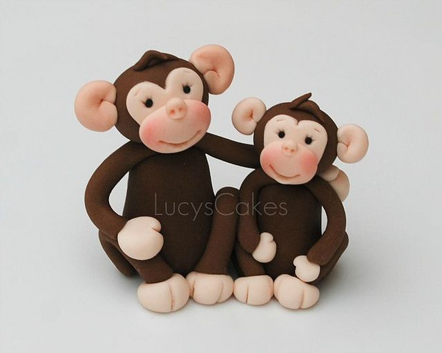 monkey chimp edible cake toppers by www.lucys-cakes.com, via Flickr