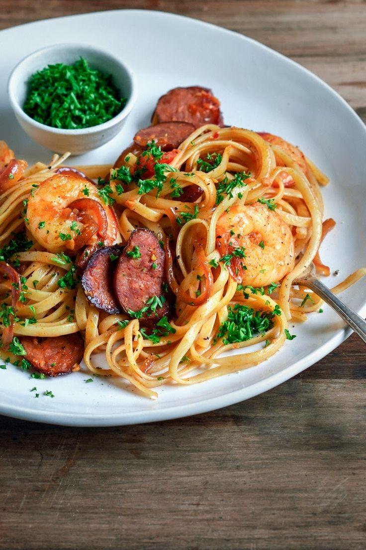 SPICY CREAMY LINGUINE with TOMATO, PRAWN, SPANISH CHORIZO, GARLIC & PARSLEY [fromthekitchen] [shrimp prawn]