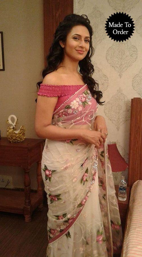 Floral Embroidered White Net T.V Actress Divyanka Tripathi Replica Saree