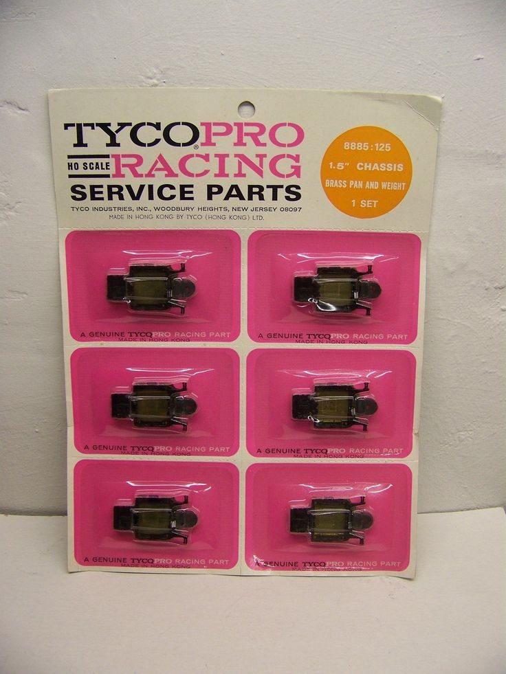 http://www.ebay.com/itm/Tyco-slot-car-MOC-NOS-full-card-8885-125-1-5-chassis-w-weight-brass-pan-/142405076561?hash=item2128010651:g:oEIAAOSwlMFZKf2Y