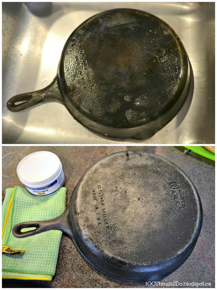 Cleaning cast iron with ENJO marble paste.