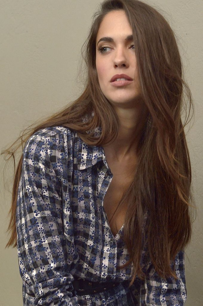 Sarah Lawrence - draw string long sleeve checked shirt.