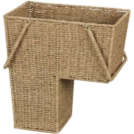 Household Essentials Seagrass Stair Basket, Multicolor