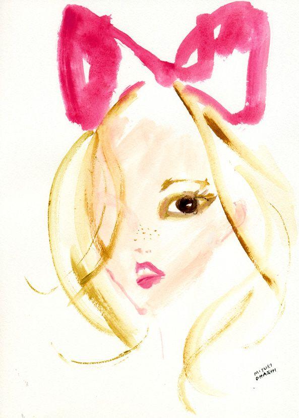 """""""Lara Stone for Love Magazine Spring/Summer 2012"""" 真っ赤なリボンがミニーマウスみたいにキュートなララ・ストーン♪ 撮影はMario Testino(マリオ・テスティーノ)。"""