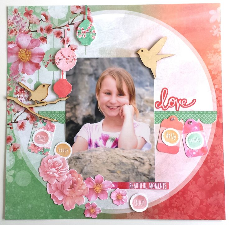 'Love' Layout by Amanda Baldwin Design Team Kaisercraft using Cherry Blossom Collection - Wendy Schultz ~ Scrapbook Pages 1.