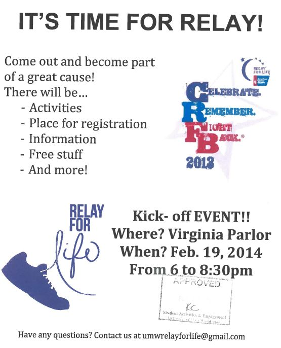 Relay for Life Kickoff Event 2/19 | Student Groups ...