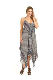 PD-8617 - Boho Scarf Print Patch Dress - Colors: As Shown - Available Sizes:XS-XXL - Catalog Page:38