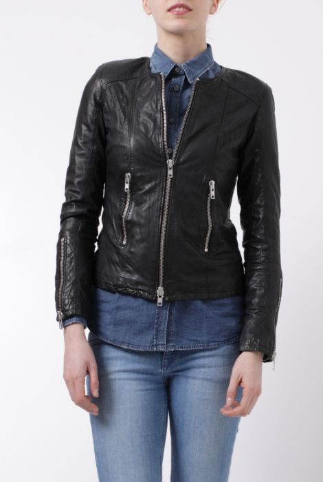 Bully black leather biker jacket giacca nera in pelle Bully shop online