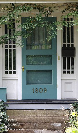 Teal blue door + screen. Also like the house numbers placement on the screen. Since there are steps up to the house, its actually a comfy place for your eyes to see the numbers.