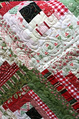 Log Cabin Christmas Quilt; I use quilts as table dressing