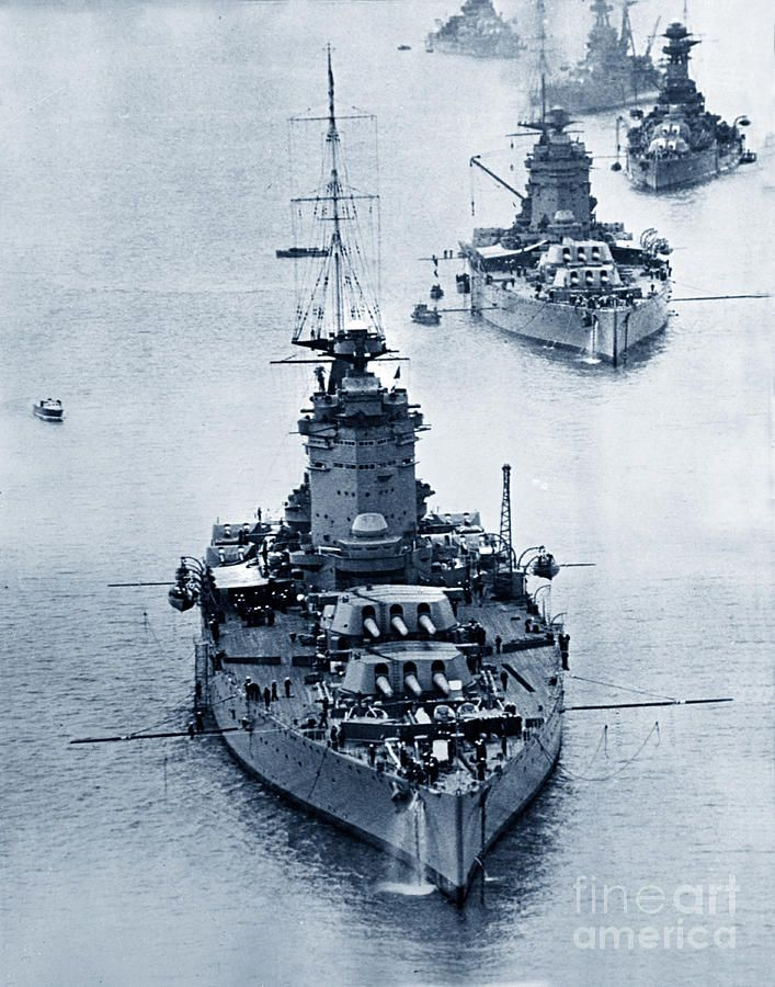 Hms Nelson Photograph - Hms Nelson And Hms Rodney Battleships And Battlecruisers Hms Hood Circa 1941 by California Views Mr Pat Hathaway Archives